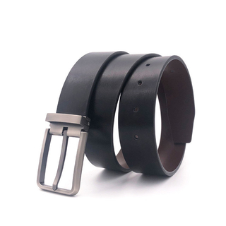 Men's Leather Belt Gift Box Double Color Pin Buckle Leather Belt