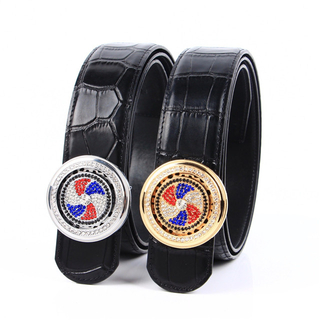 Web Celebrity Leather Belt for Men with Crocodile Pattern Matching Timing Spinning Top Smooth Buckle Hot Style