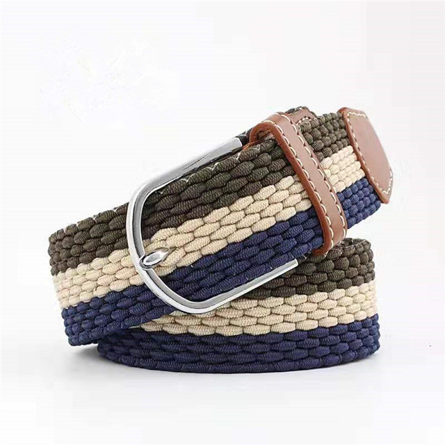 Men Casual Alloy Pin Buckle Multi Color Braided Elastic Belt