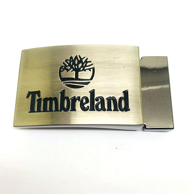 Brushed Finish Engraved Logo Custom Men Belt Plate Buckle 4.0cm Inner Size