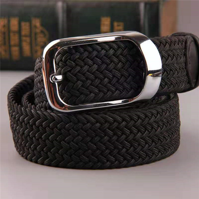BET9 Hot Sale Black Fashion Alloy Buckle Fabric Ribbon Elastic Webbing Belt