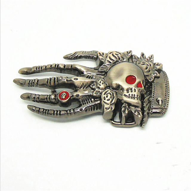 DSC05654 Promotional gifts factory price custom metal skull hand shape belt buckle