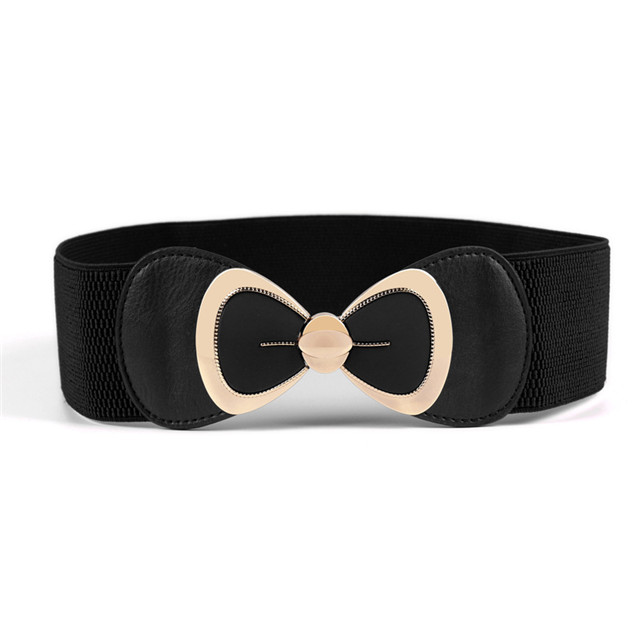 Fashion Bow Buckle Interlock Metal Buckle Belt with Elastic for Women's Dress Belt Manufacturer