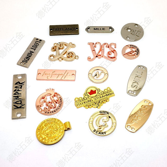 OEM Accepted Wholesale Garment Accessories Metal Labels Custom with Sewing Holes Design