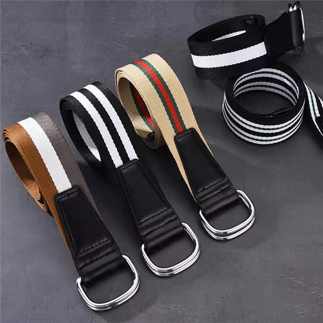 Trendy Fashion Belt 10 Color Ladies Men's Canvas Double Ring Buckle Casual Wild Woven Belt