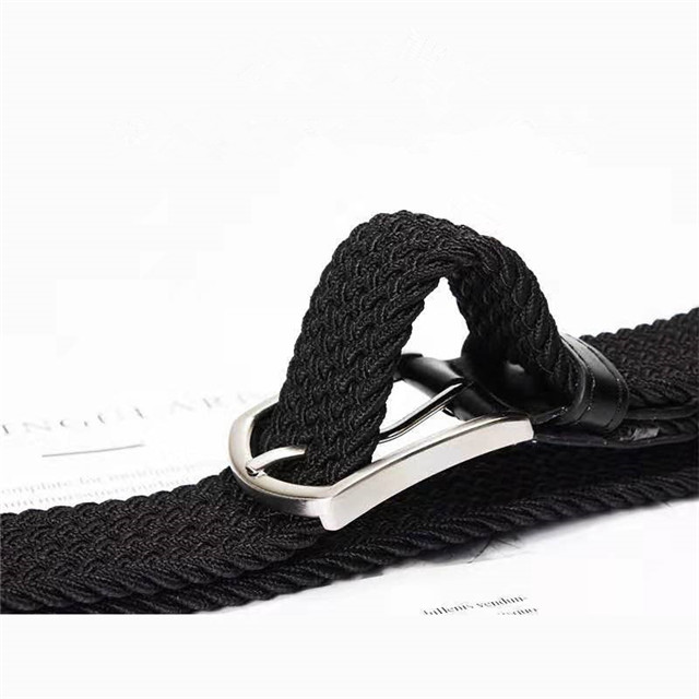 Wholesale Custom Logo Men Black Stretchy Adjustable Braided Women Woven Elastic Stretch Belt with Pin Buckle