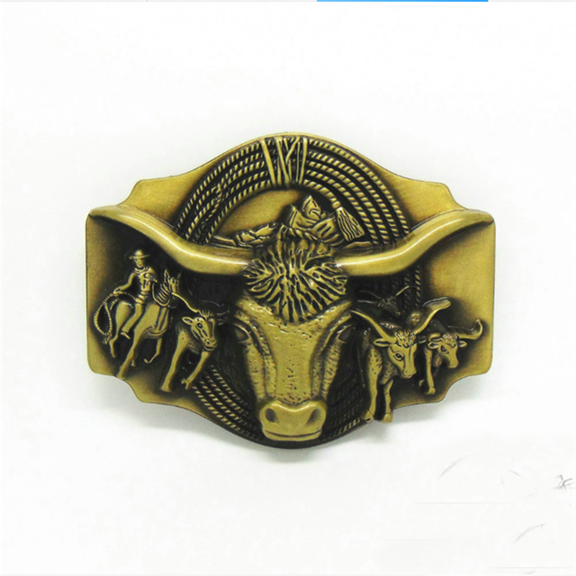 Bull Head Antique Bronze Highend Cowboy Western Buckle Belt Men 4.0cm for Strap